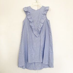 Blue Striped Ruffle Shift Dress